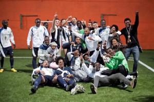 La squadra di calcio Afro-United Napoli